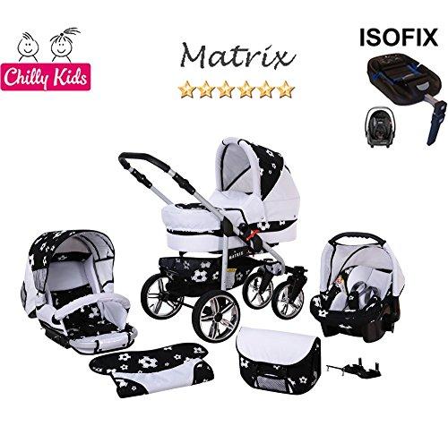 Chilly Kids Matrix II Kinderwagen Safety-Mega-Set (Winterfußsack, Sonnenschirm, Autositz & ISOFIX Basis, Regenschutz, Moskitonetz, Schwenkräder) 66 Weiß & Fußballfieber
