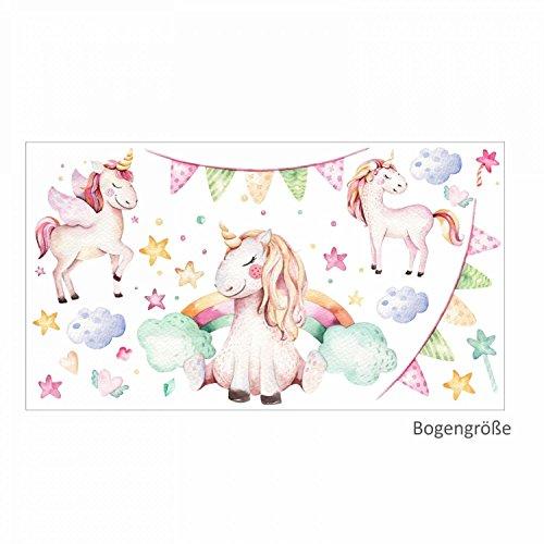 nikima - 074 Wandtattoo Einhorn Pastell Regenbogen Kinderzimmer Baby Mädchen - in 6 Größen - niedliche Kinderzimmer Sticker und Aufkleber süße Wanddeko Wandbild Junge Mädchen Größe 1250 x 700 mm