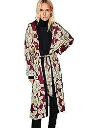 026f4b20b9 Kolylong® Strickjacke Damen Frauen Elegant Blumen Drucken Strickjacke Lange  Herbst Locker Mantel Mode…