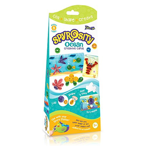 Spyrosity Ocean – Amazing Ocean Theme Pack For Fun And Easy Quilling Activity - Contains 8 Creative Self-Adhesive Cards, Sticky-Back Quilling Strip & Mini Sizing Board- For Boys And Girls Age 5 And Above