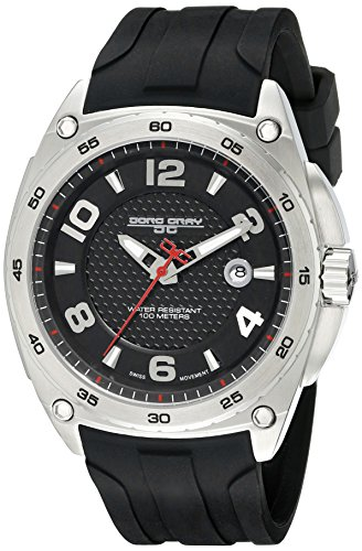 Jorg Gray Men's Quartz Watch with Black Dial Analogue Display and Black Silicone Strap JG8400-11