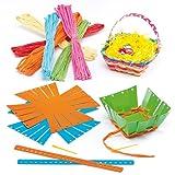 Flechtsets für Osterkörbchen mit Bast für Kinder zum Selbermachen, Verzieren und Aufstellen (4 Stück)