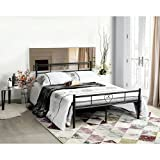 Aingoo Metal Double Bed 4ft 6 Bed Frame Solid Bedstead Base Heart-Shaped with Large Storage Space For Children or Adults , Black