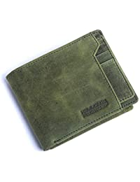 Hammonds Flycatcher Moss Green Vintage Leather Wallet for Men|6 Card Slots| 1 Coin Pocket|2 Hidden Compartment|2 Currency Slots|1 ID Compartment