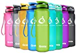 Grsta Sport Trinkflasche 32oz-1000ml - Wasserflasche Auslaufsicher, Eco Friendly BPA Frei Tritan Kunststoff Flaschen mit Frucht Filter, Sporttrinkflasche für Kinder, Gym, Yoga, Laufen, Camping, Büro (Grün)