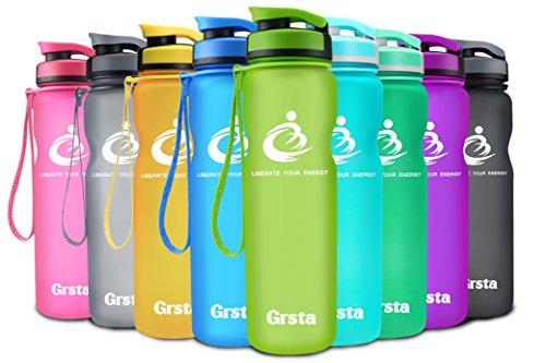 Grsta Sport Trinkflasche 32oz-1000ml - Wasserflasche Auslaufsicher, Eco Friendly BPA Frei Tritan Kunststoff Flaschen mit Frucht Filter, Sporttrinkflasche für Kinder, Gym, Yoga, Laufen, Camping, Büro (Grün) (Früchte Die Sauberen)