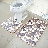 OOFAYWFD Thick Coral Fleece Badezimmer Zweiteilige Badezimmer Anti-Rutsch-Matte WC Zweiteilige Teppich Matte,2