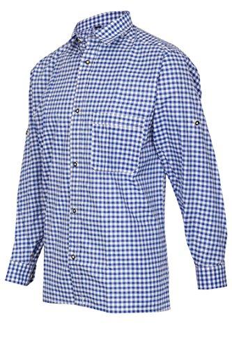 MS-Trachten Herren Trachtenhemd blauweiß kariert S - 3