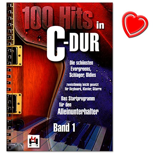 100 Hits in C-Dur Band 1 - schönsten Evergreens, Schlager, Oldies - zweistimmig leicht gesetzt für Keyboard, Klavier, Gitarre - Verlag Bosworth BOE7696 - Songbook mit bunter herzförmiger Notenklammer -