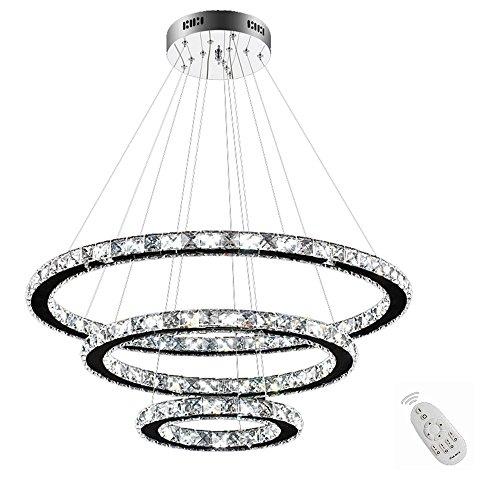 3-ring Mit Einem Brenner (SAILUN 96W LED Kristall Design Hängelampe Drei Ringe Deckenlampe Pendelleuchte Kreative Kronleuchter Dimmbar Lüster)