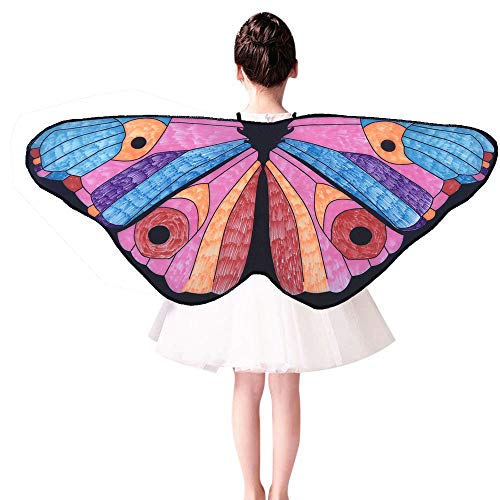 Rosennie Damen Kinder Kind DIY Schmetterling Cape Wings Kreative Faschingskostüme Schmetterling Schal Cosplay Kinder Angel Wings Dress up Costume Nymphe Pixie Butterfly Wings Flügel