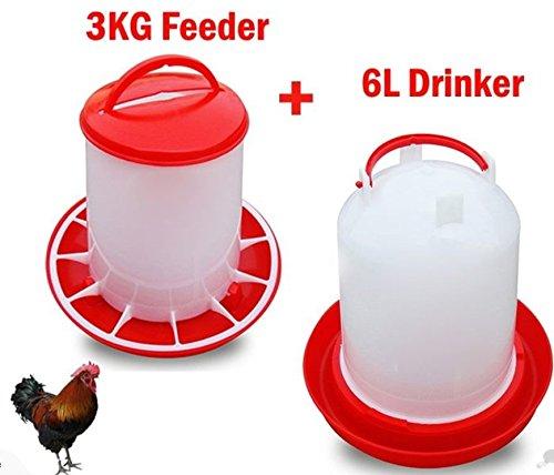 Geflügel Vogel Huhn Trinker 6L und 3kg Feeder
