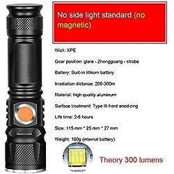 Lampe de poche tactique à LED rechargeable avec chargeur USB et batterie 18650, la meilleure lampe de poche pour le camping, la randonnée, les urgences et la réparation de la maison.