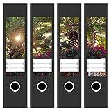 4 x Akten-Ordner Etiketten / Aufkleber / Rücken Sticker / mit Design Motiv Sonne durch Palmen / für breite Ordner / selbstklebend / 6cm breit