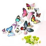 Imbry 72 Stück 3D Schmetterling Aufkleber Wandsticker Wandtattoo Wanddeko für Wohnung, Raumdekoration Klebepunkten+ Magnet (12 Blau + 12 Colour + 12 Grün + 12Gelb + 12 Rosa + 12 Rot) (Schmetterling) - 9