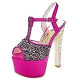 AIYOUMEI Damen Glitzer Peep Toe T-Spange Extrem High Heels Knöchelriemchen Sandalen mit Plateau Elegant Party Schuhe