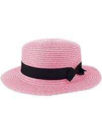Cappello da donna da donna Cappello di paglia da donna Cappellino rotondo  con visiera piatta Cappello 86320febe896