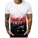 CHIYEEE T-Shirt a Maniche Corte da Uomo di Base Cime Estive Short Sleeve Shirt Cotone Rosso M