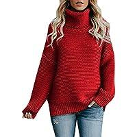 Bellelove ❤ Hochgeschlossener Pullover Pullover, Mode-Trend Frauen langärmeligen locker hochhackig Strickpullover einfach Vielseitige warm und bequem Pullover Bluse