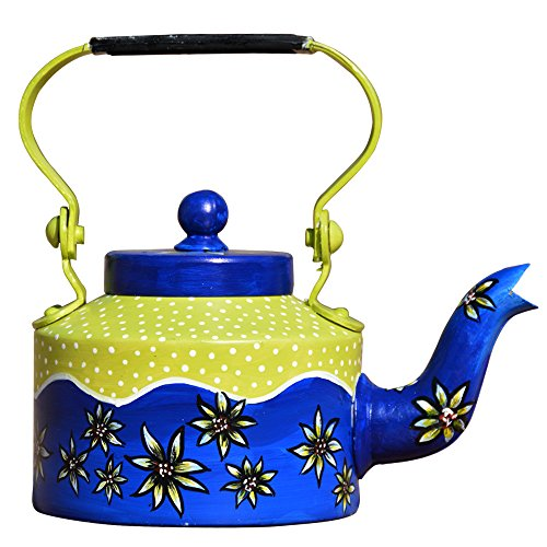 SketchLion Green & Blue Color Floral Design Hand Painted Kettle - Beautiful...