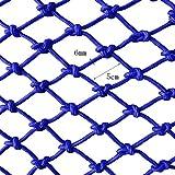 Gartenzaun Seilnetz blau Kindersicherheitsnetz Anti-Fall-Schutznetz Bauen Wanddekor Balkon Treppe Trampolin Geländer Hängematte Haustier Isolation Weben Seilgitter (Color : Mesh 5cm, Size : 3 * 6m)