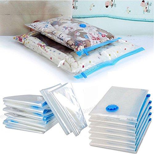 Zerone sottovuoto salvaspazio, confezione da 20 sacchetti riutilizzabili in plastica salvaspazio borse compresso Vaccum confezione con doppia zip Seal (5 Jumbo (70 x 120 cm), 5 grande (60 x 80 cm), 10 piccoli (40 x 60 cm))