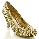 ESSEX GLAM Damen Braut Hochzeit Glitzer Klassische Pumps Party Schuhe (40, Gold Glitzerstaub)