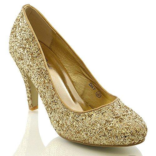 ESSEX GLAM Damen Braut Hochzeit Glitzer Klassische Pumps Party Schuhe Gold Glitzerstaub