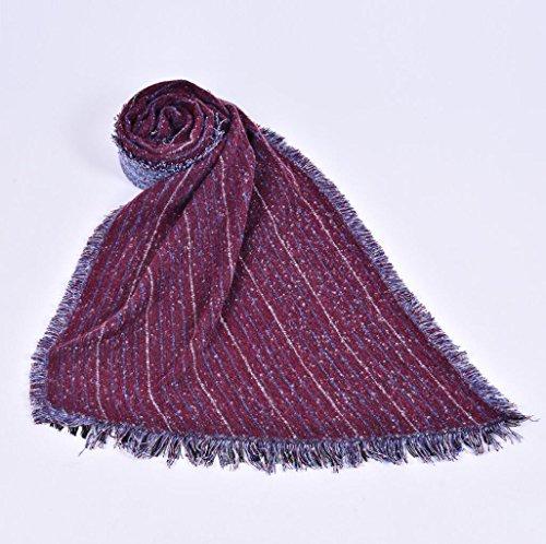 JH Frauen Mode Nepal Stil Streifenmuster überdimensioniert verdickt Decke Schal Wrap Poncho Schal Cape gemütlich Faux Kaschmir ideale Geschenke für Frau 210 * 70cm , red