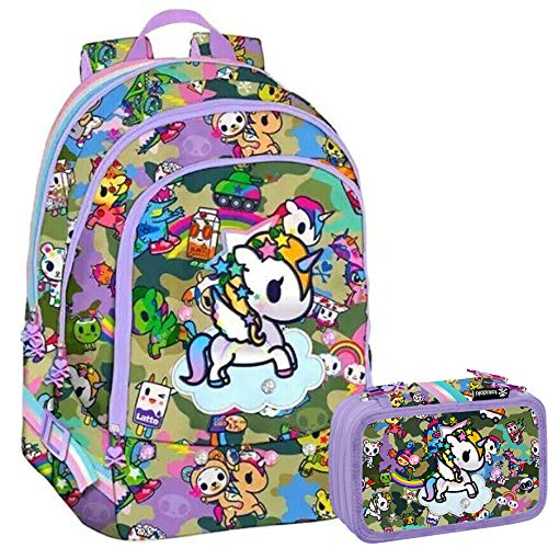 TOKIDOKI UNICORNO Schoolpack - Zaino Tre Cerniere + Astuccio 3 Zip Completo di Cancelleria - Collezione Scuola 2019-20