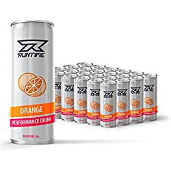 Performance Energy Drink von Runtime für mehr Leistung, Energie, Focus und Konzentration | Energy Boost mit Vitamin B5 und B6, L-Theanin, Koffein, Grüner-Tee Extrakt | 24 Dosen Orange