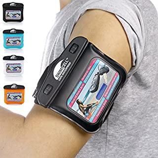 SwimCell Waterproof Case for Key, MP3, Fitness Tracker, Money, ID Card. Strong Adjustable Armband and Lanyard with BONUS Silicone Key Cover Certified IPX8. Tested 10m Underwater. Patented