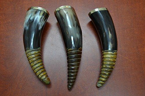 3 Pcs Swirl Black Smooth Water Buffalo Horn Drinking Cup 8 - 9 by MyGANN