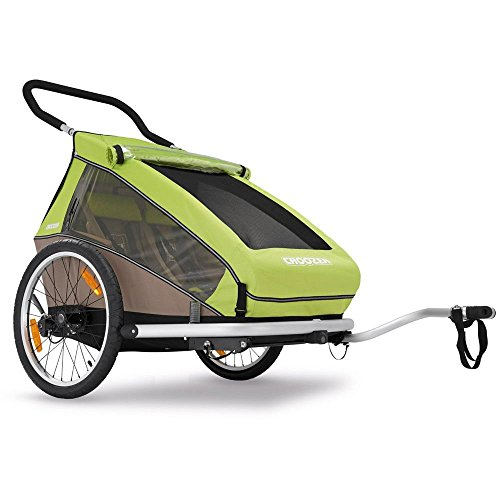 2016 Croozer Kid for 2 - 3 in 1 Two Child Trailer (Includes Trailer kit, Stroller Kit and Jogging Kit) Meadow Green / Sand Grey by Croozer