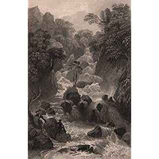 LAKE DISTRICT: Lodore Cataract, Cumberland. Cumbria. ALLOM; antique print 1839