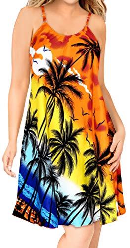 LA LEELA Orange Hawaiian Gedruckt Likre Aloha Beach Sommerkleid L - Hawaiian Gedruckt