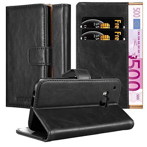 Cadorabo Hülle für HTC One M9 in Graphit SCHWARZ – Handyhülle mit Magnetverschluss, Standfunktion & Kartenfach – Case Cover Schutzhülle Etui Tasche Book Klapp Style