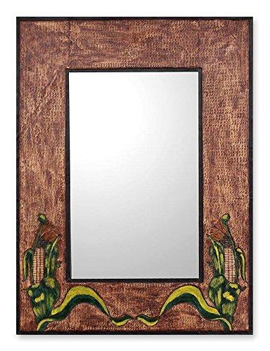 NOVICA 157919-P Spiegel aus Leder, groß, Gordian Knoten-Parent Inka-Mais -