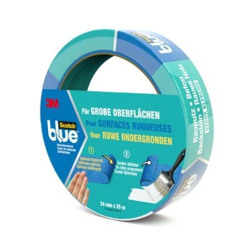 Preisvergleich Produktbild Scotch Blue 20962425 Malerabdeckband (Malerkrepp) optimale Klebkraft auf groben Oberflächen, 24 mm x 25 m, blau