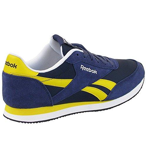 Reebok - Royal Cl Jogger 2, Chaussures Sport Hommes Bleu (hs-encre Bleue / Col Navy / Rétro Yell / Blanc / B) (jaune, Blanc)