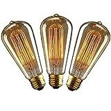KJLARS 3x Vintage Edison Glühbirne Glühlampe E27 40W ST64 Filament Fadenlampe Für Nostalgie Retro Industry Style Leuchtmittel