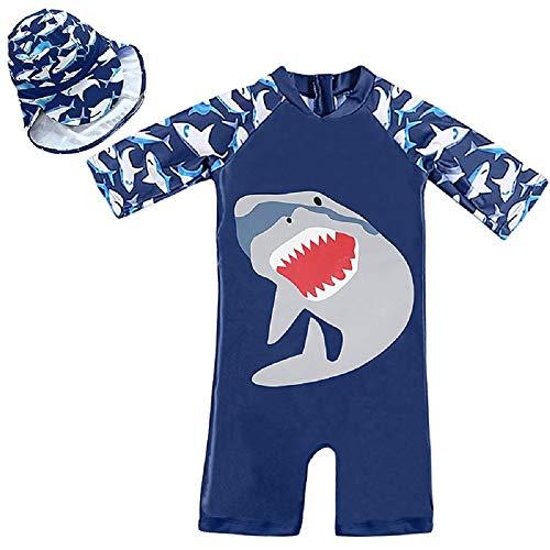 7-Mi Jungen Bademode, Sonnenschutz UPF 50+ Rash Guard Set - Kinder Badeanzug Shirt Trunk Set mit Kordelzug Stretch-Material - True Size - 1-5Years