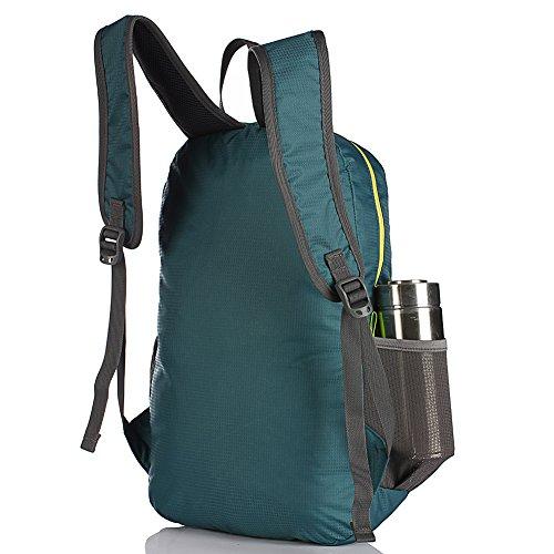 Ultra Leicht verstaubarer Rucksack Wandern Daypack + Die meisten strapazierfähig, leicht Rucksäcke für Männer und Frauen/Die besten Faltbare Camping Outdoor Reisen Radfahren Schule Air Reisen Carry On blaugrün