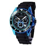 TIME100 Unisex Sportuhr Jungenuhr Mädchenuhr Silikon Chronograph Armbanduhr Quarz Schwarz Blau #W70045G.02AN