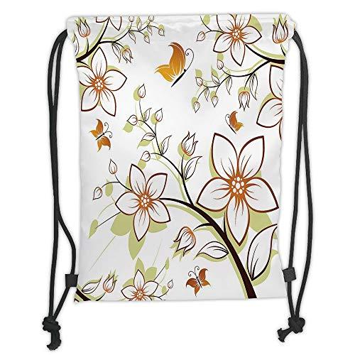 Icndpshorts Autumn,Fauna in Fall Season Color Palette Flowers and Butterflies Warm Image Decorative,Orange Pale Green Black Soft Satin,5 Liter Capacity,Adjustable STR -