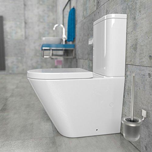 KeraBad Randlose Stand-WC Kombination mit Spülkasten WC-Sitz aus Duroplast mit Absenkautomatik SoftClose-Funktion für waagerechten und senkrechten Abgang Wasseranschluss unter dem Spülkasten Rimfree KB6093B-U