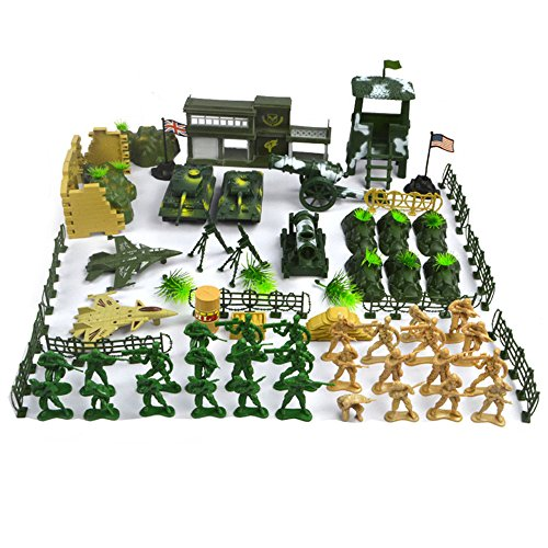 SGKN 90 PCS WWII Military Model Exercises Action Figure Toy Set Plastic Army Radar Tank Barrier Soldier War Weapon Educational Toys