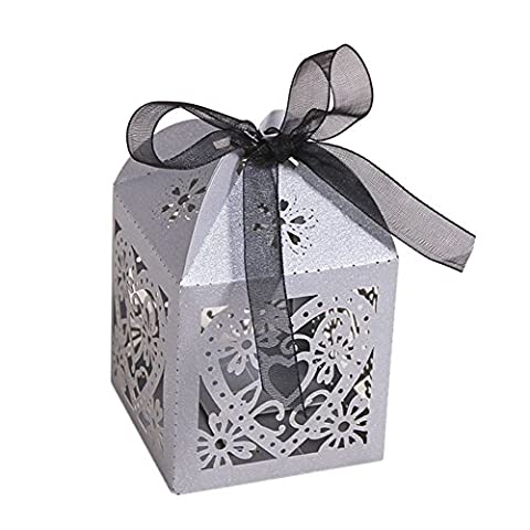 SZTARA 50 PCS Luxury Candy Gift Boxes Floral Laser Cut Paper Love Heart Shaped Wedding Party Favors With Ribbon Silver