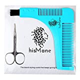 #4: HisMane Beard and Mustache Shaping and Styling Template Tool & Comb with Scissors. Beard Shaper for the Designer Beard