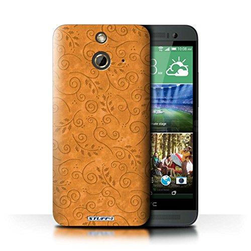 Kobalt® Imprimé Etui / Coque pour HTC One/1 E8 / Pourpre conception / Série Motif Feuille Remous Orange